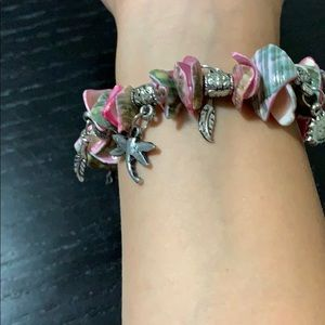 Jewelry - Bracelet handmade made with pink seashells charms